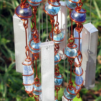 Blue Kyanite Windchime / Wind Chime with Recycled Aluminum and Copper Wire Wrapped Iridescent Royal and Sky Blue Glass Marble Prisms