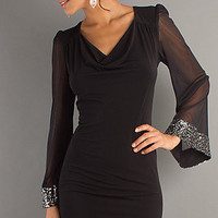 Sexy Long Sleeve Short Black Dresses, Cocktail Dresses- PromGirl