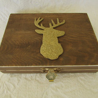 Rustic Stained Aged Woodland Deer His Hers Divided Wedding Ring Bearers Box