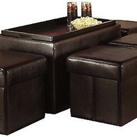 Leather Storage Bench Collapsible 4 Ottomans LIVING ROOM, BEDROOM, FAMILY ROOM
