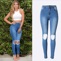 Fashion high waist Distressed jeans woman ripped Pencil Pants Hole jeans for women denim jean pants skinny jeans woman pantalon