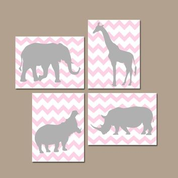 Girl SAFARI Nursery Art, Pink Gray Nursery Decor, Girl Safari Animals, CANVAS or Prints, Jungle Animal Silhouette Chevron, Set of 4 Pictures