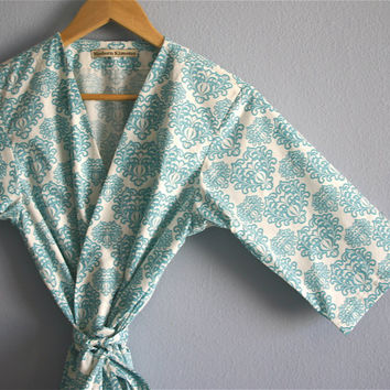 Mid Calf Maternity Robe. Hospital Robe. Hospital Gown.Nursing Robe. Modern Kimono. Sonoma Farmhouse Turquoise. Great Baby Shower Gift.
