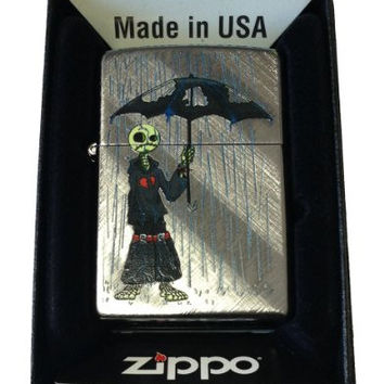 Zippo Custom Lighter - Gray Days EMO Punk Skull Guy w/ Rain & Umbrella Diagonal Weave 28182CI015942