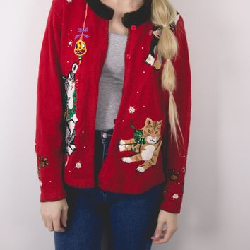 Vintage Cat Ugly Christmas Sweater