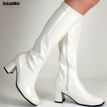 Halloween costumes White 1960s Go Go Ladies Retro Boots For Women Knee High Boots 60s 70s Fancy Dress Party Plus size