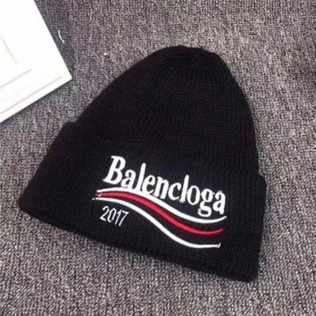DCCKVQ8 Balenciaga' Autumn Winter Fashion Wave Stripe Letter Embroidery Knit Hat Women Warm Hat