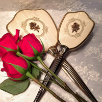 Antique Vanity Hand Mirror and Brush Set with Heavy Gold Handle Rose Design Victorian Style Vintage Bedroom