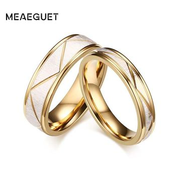 Meaeguet Wedding Ring Couples Matching Rings Lovers Gold Color Love Matte Finish White Wedding Bands Rings
