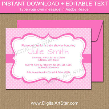 Pink Baby Shower Invitation Template - Girl Baby Shower Invitation - Printable Pink Birthday Party Invitation Instant Download 2P