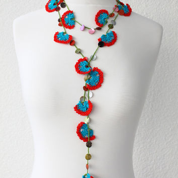 Beadwork Necklace, Crochet Lariat Necklace, Strand Necklace, bohemian gipsy, Flower Necklace, Lace Jewelry