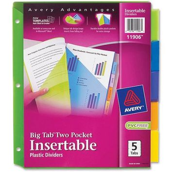 Avery Plastic 2-Pocket Insertable Tab Dividers - Walmart.com