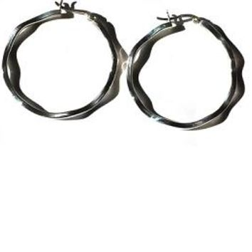Sterling Silver Safety Pin Catch Wavy Hoop Earrings