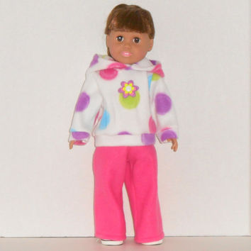 American Girl Doll White Hoodie Sweatshirt with Polka Dots and Hot Pink Sweat Pants