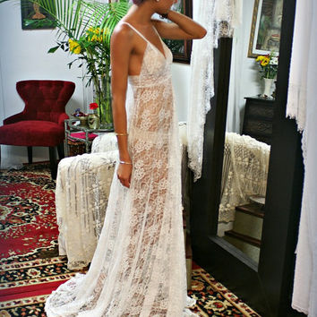 Sheer Lace Bridal Lingerie Nightgown Sleepwear Wedding Nightgown White lace Nightgown