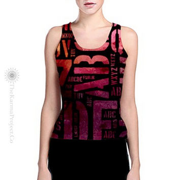 Yoga Wearable Art, Yoga Tank Top, ABC Tank, Reversible