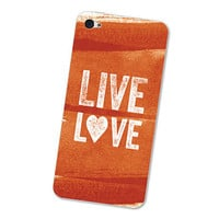 Burnt Orange Watercolor iPhone 4S Skin Live Love: iPhone 4 Skin Decal - Orange and White Cell Phone Sticker iPhone Skin