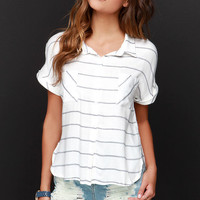 Top of the Morning Black and Ivory Striped Button-Up Top