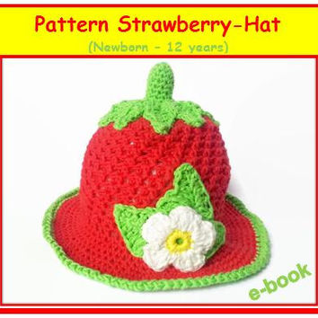 Strawberry hat (newborn - 12 years) crochet pattern