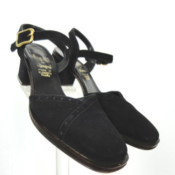 1960s Black Suede Spectator Heels / Amalfi Rangoni / Florence Italy / Pumps Shoes / Size 7.5 N