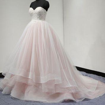 Fade Pink Ball Gown Wedding Dress Tiered Tulle Layer Sweetheart Lace Beaded