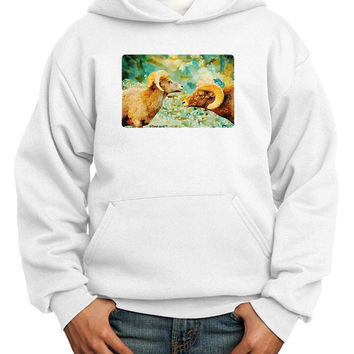 TooLoud Two Bighorn Rams Watercolor Youth Hoodie Pullover Sweatshirt