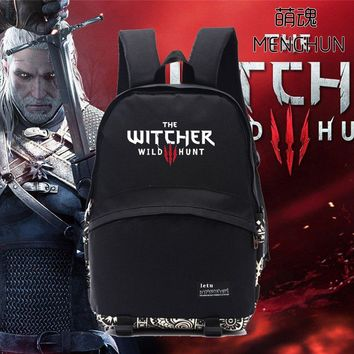 Cool nylon game backpack the witcher 3 wild hunt bag Game fans black backpack men's black backpack school bag for fans NB184