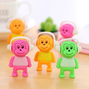Very Cute Music Monkey Animals Rubber Erasers Pencil Drawing Writing Correction