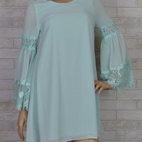 After the Rain Chiffon Shift Dress-Lace Bell Sleeves-Sage