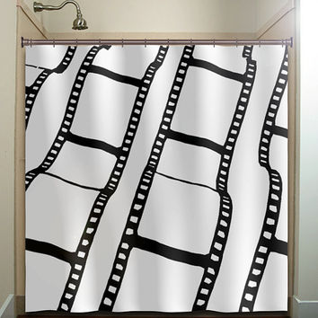 negative film strip movie reel shower curtain bathroom decor fabric kids bath white black custom duvet cover rug mat window