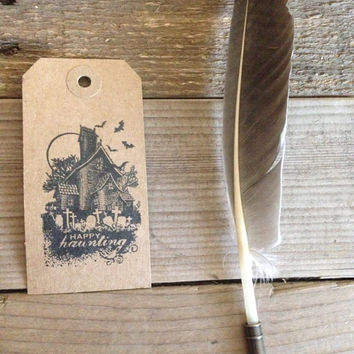 Happy haunting hand stamped gift tag