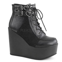 "Poison 105 Leatherette Heart Buckle Ankle Boot 5"" Wedge"