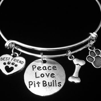 Pit Bull Best Friend Expandable Charm Bracelet Peace Love Pit Bull Dog Paw Silver Adjustable Bangle One Size Fits All Gift Pit Bull Jewelry