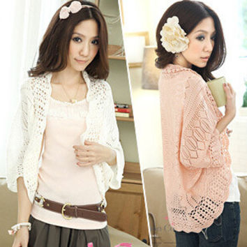 2015 Hot Selling Spring Summer Women's Short Casual Cardigan Batwing Sleeve Korean Style Women Cute Shrug Top Cardigans