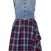 McQ Alexander McQueen Denim and plaid cotton dress - 55% Off Now at THE OUTNET
