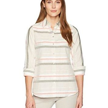 Foxcroft Womens Fia Horizontal Stripe Shirt