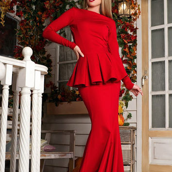 Red peplum Dress, Spring Dress, Autumn Dress, Maxi dress, long sleeve dress, dress with Basque / High Quality Designer dress, Winter dress