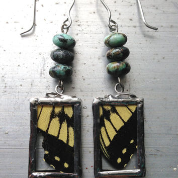 To Be Free, Butterfly Wing Earrings Real Insect Jewelry
