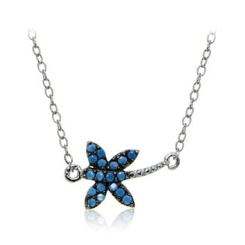 Sterling Silver Nano Simulated Turquoise Dragonfly Necklace