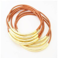 Bracelets-Bangles, Copper Leather with Gold or Silver Tube Accents- By LEATHER WRAPS