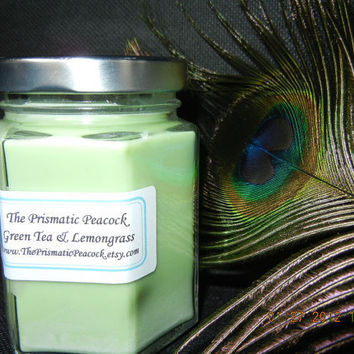 Green Tea and Lemongrass All Natural Soy Candle in Hexagon Jar