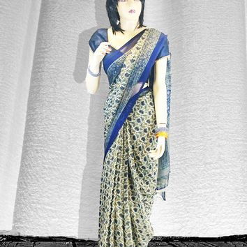 the vintage full print chiffon saree with deep blue trim