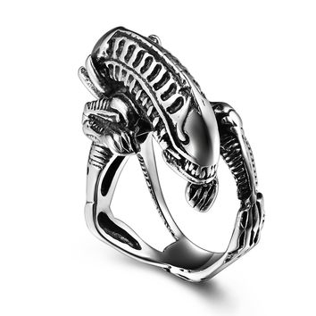 Stainless Steel punk Ring for men Biker Skull ring Classic Alien ring