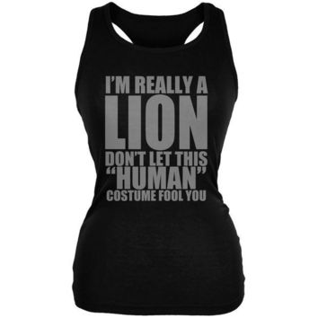 LMFCY8 Halloween Human Lion Costume Black Juniors Soft Tank Top