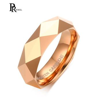 Trendy Rose Gold Colors Rhombus Ring Tungsten Carbide Wedding Ring For Men Size 6 to 11