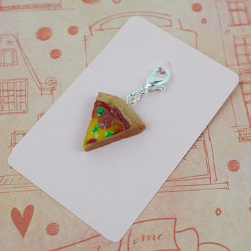 Pizza Slice Charm | Polymer Clay | Realistic Miniature Food | Cute Kawaii | Handmade Gift |