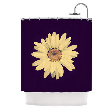 "Robin Dickinson ""Half Crazy"" Black Yellow Shower Curtain"