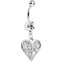 Crystalline Gem Encrusted Heart Dangle Belly Ring | Body Candy Body Jewelry