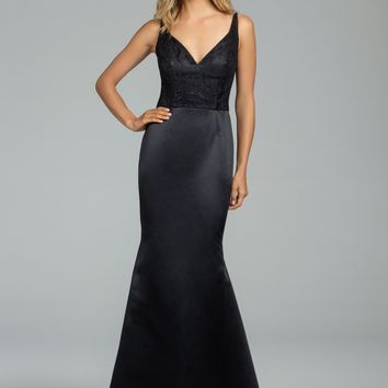 Hayley Paige Occasions 5809 Floor Length Lace and Satin Trumpet Bridesmaids Dress