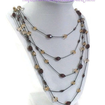 Multi-Strand Gunmetal and Bead Necklace, Earth Tones Multi Strand Necklace, Adjustable Multi-Strand Necklace, Lady Gunmetal Necklace, Tudors